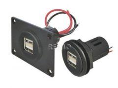 USB-kontakt 12 / 5V med dobbelt USB 2x2,5A med monteringsplate